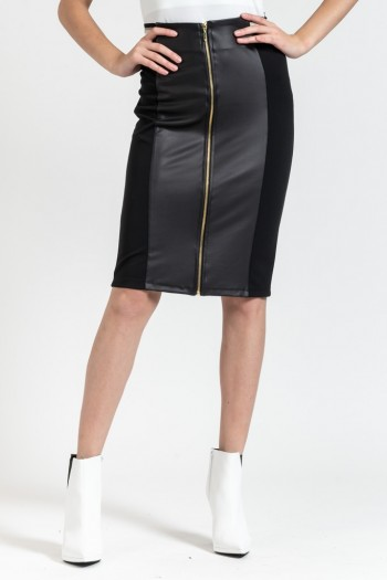MIDI SKIRT WITH FAUX LEATHER DETAILS