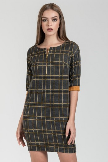 MINI CARREAUX DRESS WITH 3/4 SLEEVES