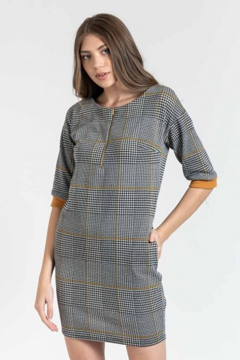MINI PETITS - CARREAUX DRESS WITH 3/4 SLEEVES