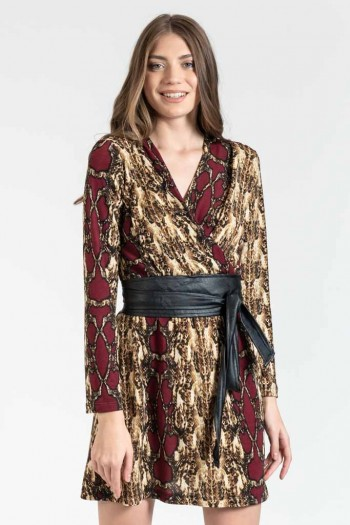 MINI SNAKE PRINT WRAP DRESS