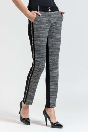 SEMI-TWEED TROUSERS WITH SIDE STRIPE