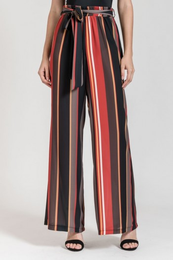 STRIPED WIDE LEG TROUSERS WITH BELT