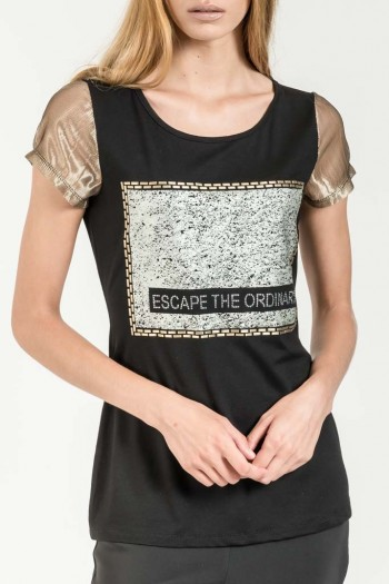 T-SHIRT WITH FOIL PRINT AND METALLIC NET SLEEVES