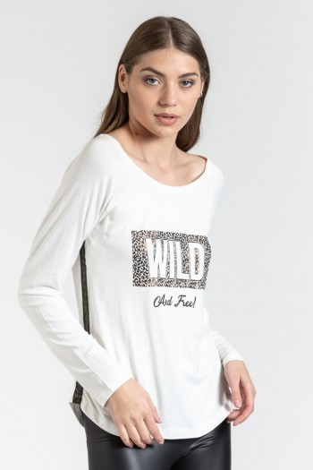 TOP WITH SIDE STRIPE AND PRINT