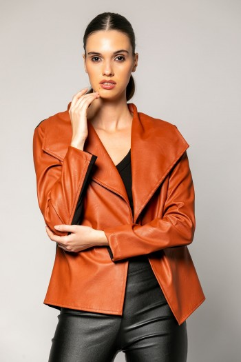 WIDE COLLARED LEATHER CARDIGAN