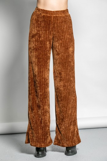 CHENILLE WIDE LEG TROUSERS