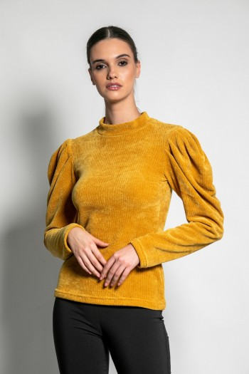 CHENILLE SWEATER WITH PUFF SHOULDERS