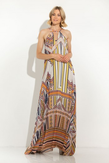 MAXI CHIFFON PRINTED DRESS