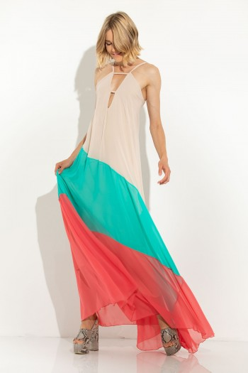 MAXI CHIFFON DRESS WITH OPEN BACK