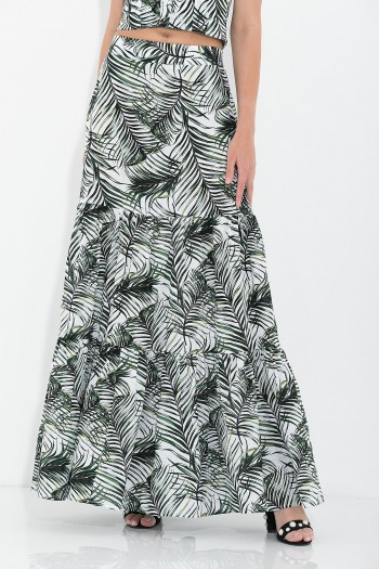 ETHNIC MAXI RUFFLED SKIRT