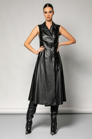 DOUBLE BREASTED LEATHER DRESS