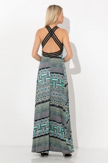ELASTIC MAXI DRESS PRINTED