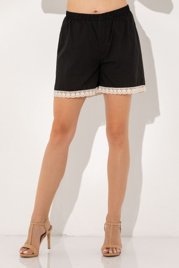 SHORTS WITH LACE AT HEM