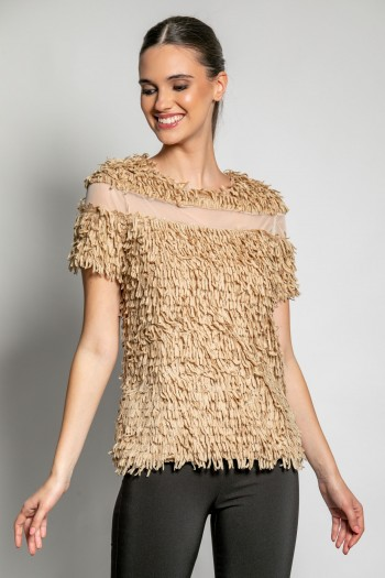 FRINGE TOP WITH TULLE
