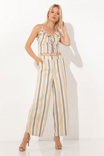 HIGH WAIST WIDE LEG TROUSERS WITH STRIPES