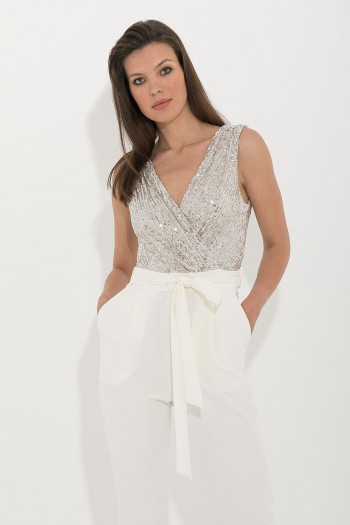 SEQUIN WRAP JUMPSUIT