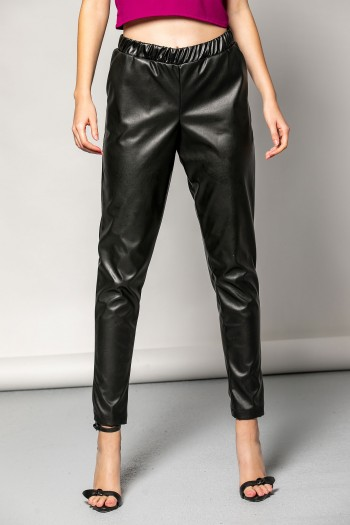 LEATHER PANTS WITH ELASTIC BAND