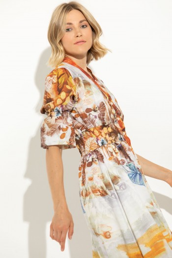FLORAL MAXI DRESS WITH ELASTIC BAND