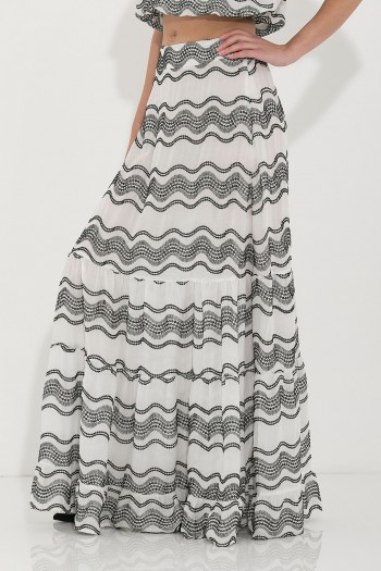 BOHO EMBROIDERED MAXI RUFFLED SKIRT