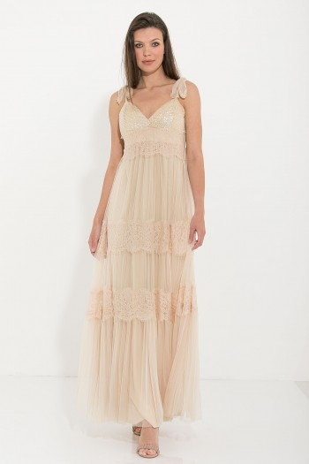 MAXI OCCASION TULLE DRESS WITH LACE AND SEQUIN DETAILS