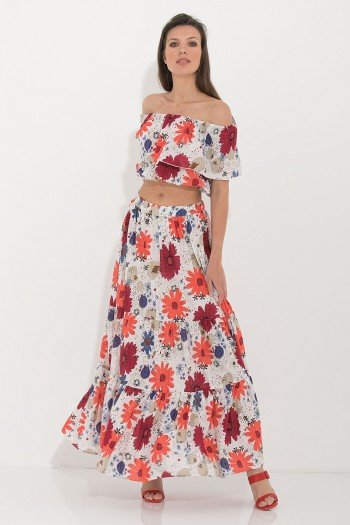 FLORAL MAXI RUFFLED SKIRT