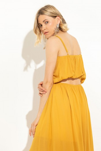 MUSTARD LONG DRESS WITH CUT OUT