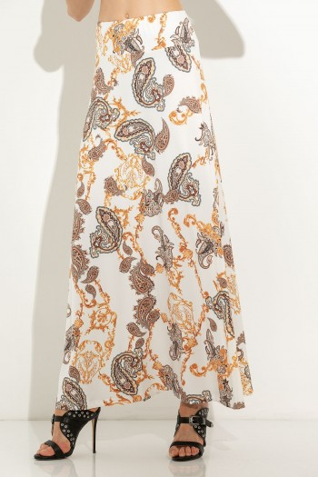 MAXI ELASTIC SKIRT WITH PAISLEY PATTERN