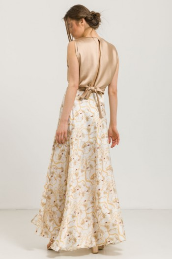 MAXI SATIN PRINTED SKIRT