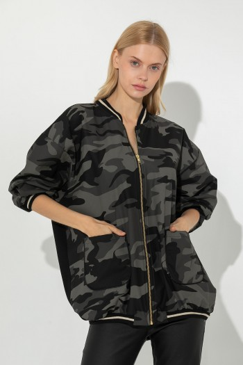 LEATHER MILITARY BOMBER JACKET