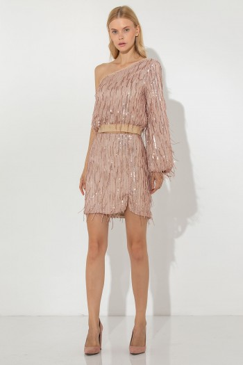 SEQUINNED FRINGES MINI SKIRT