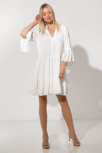 CHIFFON MINI DRESS WITH RUFFLES