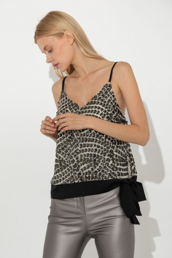 SEQUINNED STRAP TOP