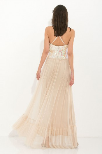 SEQUIN TULLE OCCASION MAXI DRESS
