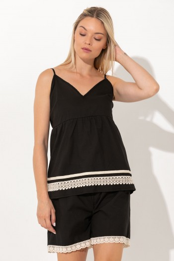 STRAP TOP WITH LACE HEM