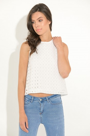 BRODERIE ANGLAISE SLEEVELESS TOP
