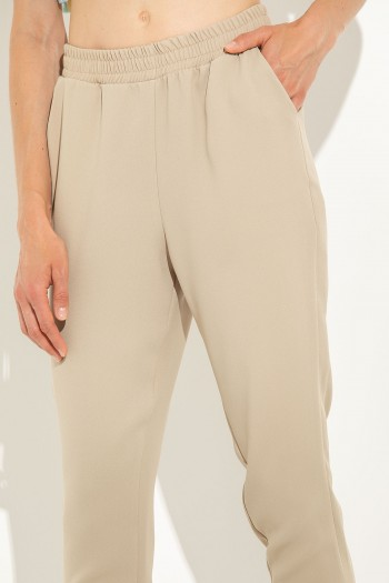 STRAIGHT LEG TROUSERS WITH ELASTIC BAND AT WAIST