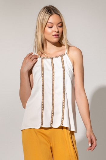 STRAP TOP WITH ETHNIC EMBROIDERY