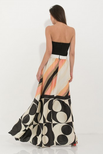 SATIN STRAPLESS MAXI PRINTED DRESS