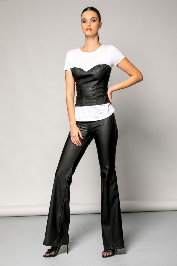 LEATHER SNAKE PRINT TROUSERS