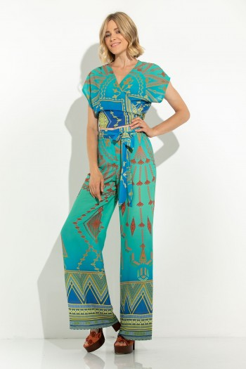 WIDE LEG PRINTED TROUSERS WITH FABRIC BELT