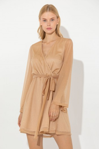 MINI DRESS WITH SEMI-SHEER SLEEVES