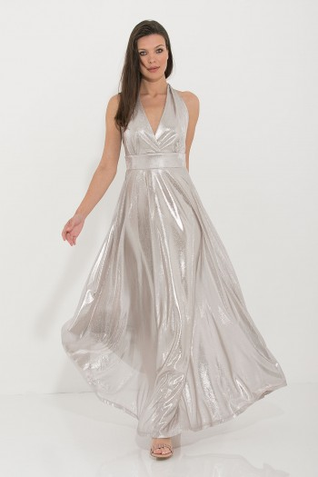 SHEER METALLIC OCCASION MAXI DRESS