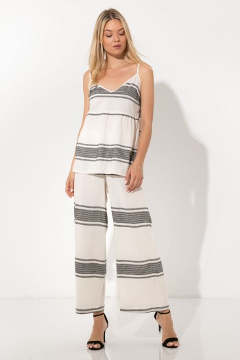 WHITE JACQUARD WIDE LEG TROUSERS
