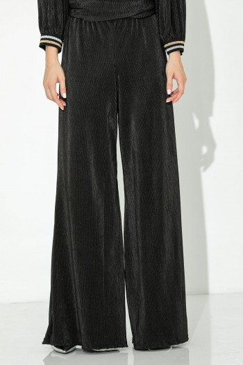 BLACK PLEATED WIDE LEG TROUSERS