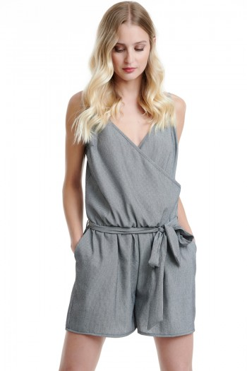 BELTED WRAP FRONT ROMPER
