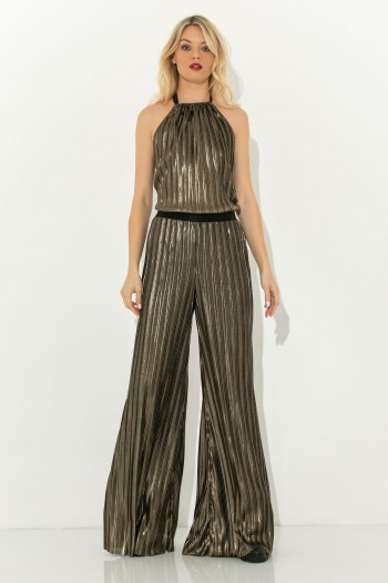METALLIC GOLD PLEATED JUMPSUIT