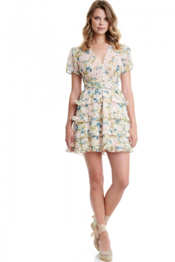 FLORAL RUFFLED DRESS