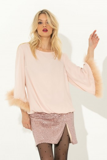 OVERSIZED FLOWY BLOUSE WITH FUR