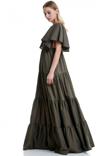 FLOUNCED MAXI POPLIN DRESS