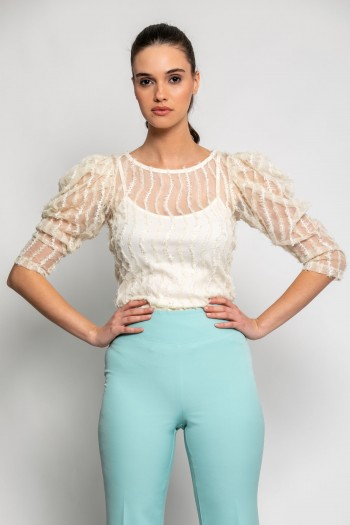 TEXTURED BLOUSE WITH VOLUMINOUS SLEEVES